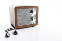 Retro style mini radio player. Isolated on white background Stock Photo