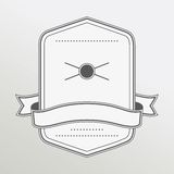 Retro style monochrome emblem with ribbon Stock Photography