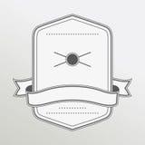 Retro style monochrome emblem with ribbon Stock Photography