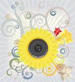 Retro style music  illustration. Loudspeaker as a center of a flower on abstract background Stock Photography