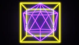 Retro style neon glowing geometric shapes, one within another. Retro style neon glowing geometric shapes, one within another, 3D rendered image vector illustration