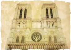 Retro style Notre Dame Cathedral in Pari Stock Images