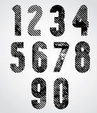 Retro style numbers with halftone lines print texture and rounde Royalty Free Stock Images