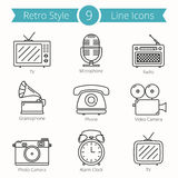 Retro Style Objects Line Icons. Set of 9 line icons of retro style objects - tv, microphone, radio, gramophone, phone, video and photo camera, alarm clock Royalty Free Stock Images