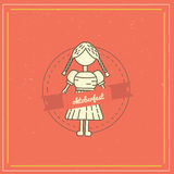 Retro style oktoberfest poster with girl and label on red background. Beer festival vector illustration. Stock Images