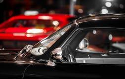 Retro style, old black sport car. Indoor Stock Image
