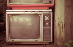 Retro style old television from 1950, 1960 and 1970s. Vintage tone instagram style filtered photo royalty free stock photography