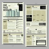 Retro style one page website design Royalty Free Stock Images