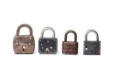Retro style padlock collection set on white background. Macro view photo. Royalty Free Stock Photo