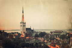 Retro style panoramic view of Tallinn old city center Royalty Free Stock Photo