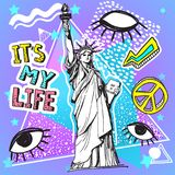 Retro style party colorful illustration. 80s fashion, 80s poster and banner. Memphis design elements and Statue of Liberty, Americ. A. Eighties style graphic Stock Photos