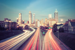 Retro style photo of Atlanta skyline Stock Photos