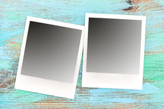 Retro style photo frames. Scratched table texture Royalty Free Stock Photos