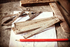 Retro style photo of old carpentry tools. Stock Image