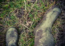 Retro Style Photo Of Rubber Boots Royalty Free Stock Photos