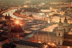 Retro style photo of Salzburg at night Stock Photo