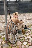 Retro style picture with resting soldier. Royalty Free Stock Photos
