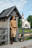 Retro style picture with soldier at sentry. Stock Image