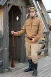Retro style picture with soldier at sentry. Stock Photography