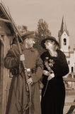 Retro style picture with woman and soldier Stock Photos