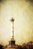 Retro style Place de la Bastille in Paris, Royalty Free Stock Image