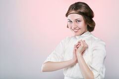 Retro style portrait of beautiful woman with smile Royalty Free Stock Photo