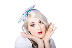 Retro style portrait of a blond girl Royalty Free Stock Image