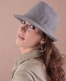 Retro style portrait of girl stock images