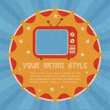 Retro style poster. Retro style badge poster with old tv with lamp screen and antenna vector illustration Stock Images