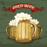 Retro style poster for Cold Beer. With three tankards or mugs of golden beer frosted with condensation droplets with good heads of white froth on a textured Royalty Free Stock Photos