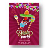 Retro style poster or flyer design with chilli wearing sombr. Ero hat and holding guitar for Fiesta Party celebration Stock Photo