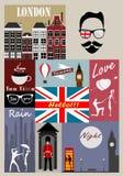 Retro style poster with London symbols Stock Photo