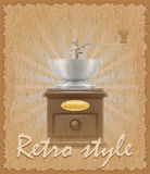 Retro style poster old coffee mill vector illustration Stock Photos