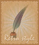 Retro style poster old feather and inkwell vector illustration Royalty Free Stock Photography