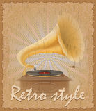Retro style poster old gramophone vector illustration Royalty Free Stock Photography