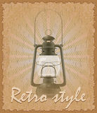 Retro style poster old kerosene lamp vector illustration Royalty Free Stock Photography