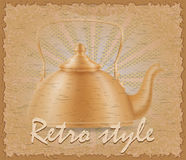 Retro style poster old kettle vector illustration Stock Image