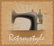 Retro style poster old sewing machine vector illustration Stock Image