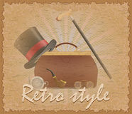 Retro style poster old valise and mens accessories vector illust Royalty Free Stock Photography