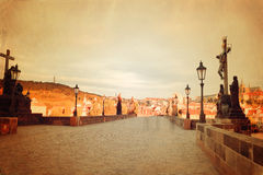Retro style Prague view with Charles Bridge Stock Images