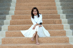 Retro style of pretty asian woman on stairs . Stock Photos