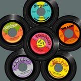 Retro style 45 record label designs. stock illustration
