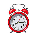 Retro style red analog alarm clock, sketch vector illustration Stock Images