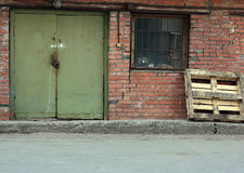 Retro style red brick 1950s warehouse Royalty Free Stock Photography