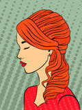 Retro style red-haired girl. Dreamy red-haired young girl with long wavy hair on the retro dots background, vector illustration Stock Images
