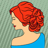 Retro style red-haired women. Red-haired women with closed eyes profile portrait on the retro style dots background, color vector illustration Royalty Free Stock Images