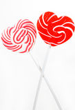Retro style red , pink heart shape lollipop Stock Image