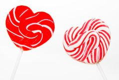 Retro style red , pink heart shape lollipop Royalty Free Stock Images