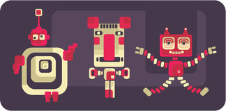Retro style robots and monsters. Stock Images