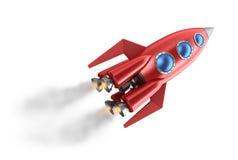 Retro style rocket. On white Stock Photo